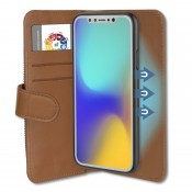 4smarts 2in1 Flip Wallet en Car Case for iPhone X / iPhone XS Cognac/Zwart