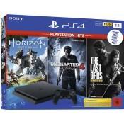 Sony Playstation 4 Slim 1TB Horizon Zero Dawn, Uncharted 4 & Last Of Us Remastered Zwart