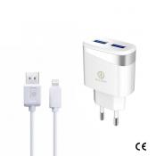 Rico Vitello Dual USB met Lighting Kabel + Adapter Wit