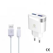 Rico Vitello Dual USB met USB C Kabel + Adapter Wit