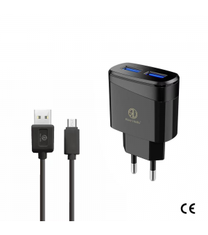 Rico Vitello Dual USB met USB C Kabel + Adapter Zwart