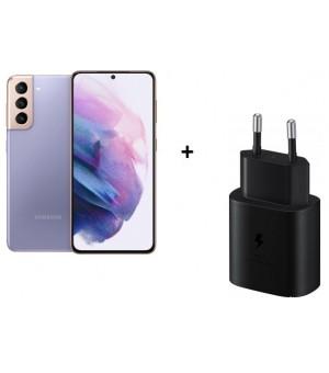 Samsung Galaxy S21 5G 128GB Paars + SAMSUNG 25W USB-C ADAPTER EP-TA800 ZWART