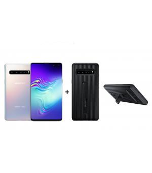 Samsung S10 5G 256GB Zilver + Standing Cover Bundel