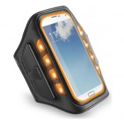 Muvit Universal LED Sportsarmband XXL - Zwart / Oranje