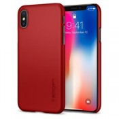 Spigen iPhone X Thin Fit Metalic Case - Rood
