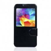 Leder Beschermtasje Wallet Window View voor Samsung SM-G900F Galaxy S5 - Black