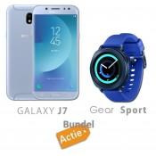 Samsung Galaxy J7 2017 - Blauw + Samsung Gear Spor - Blauw