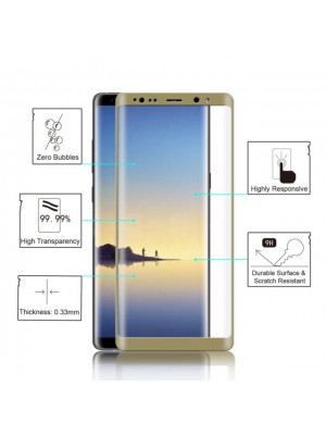 5D Screen Protector Tempered Glass Galaxy Note 8 - Gold